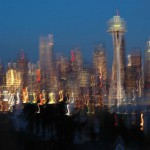 A blurry photo of downtown Seattle